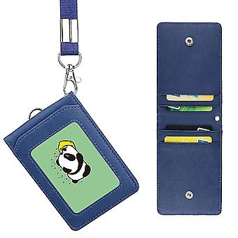 (Blue)Badge Holder Pu Leather 5 Card Slots With Lanyard