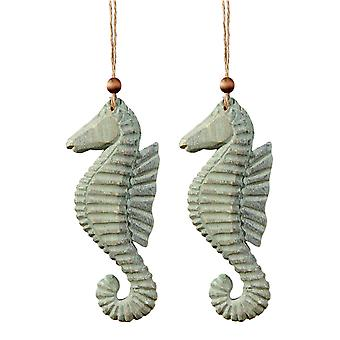 Weathered Seahorses Christmas Ornaments Wood 8 Inch Set of 2 C and F Enterprises