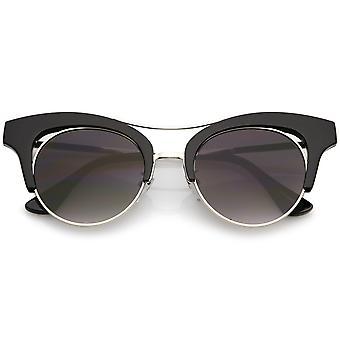 Women's Oversize Cutout Metal Brow Bar Round Flat Lens Cat Eye Sunglasses 51mm