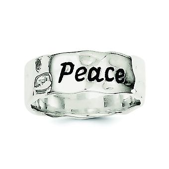 925 Sterling Silver Enamel Antiqued Hammered and Polished Ring Jewelry Gifts for Women - Ring Size: 6 to 8
