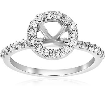 1 / 2ct Diamanten Halo Verlobungsring Einstellung 14K White Gold
