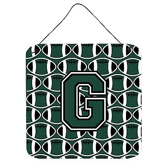Letter G Football Green and White Wall or Door Hanging Prints