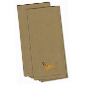 Bloodhound Tan Embroidered Kitchen Towel Set of 2