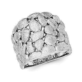 Ladies Satin Textured Nugget Ring in Sterling Silver with Rhodium Plating