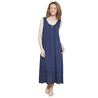 Cyberjammies 1216 Women's Nora Rose Navy Blue Solid Colour Night Gown Loungewear Nightdress