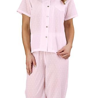 Slenderella PJ1214 Women's Dobby Dot Pink 100% Cotton Pajama Short Sleeved Pyjama Set