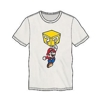 Super Mario Bros. Mario Breaking Block Miesten T-paita pieni valkoinen TS500230NTN-S