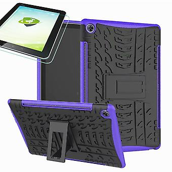 For Huawei MediaPad M5 10.8 and 10.8 Pro hybrid outdoor protective case purple bag + 0.4 H9 protection glass
