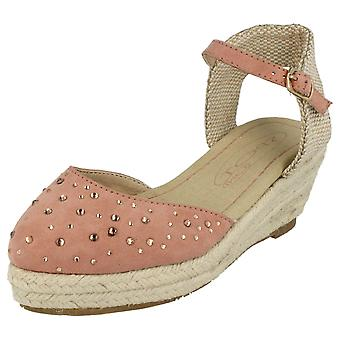 Девочек пятно на середине Espadrille клин сандалии с ремешком лодыжки