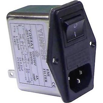 Yunpen YQ04A1 Line filter + IEC socket, + switch, + 2 fuses 250 V AC 4 A 2.5 mH (L x W x H) 68 x 52.5 x 61 mm 1 pc(s)