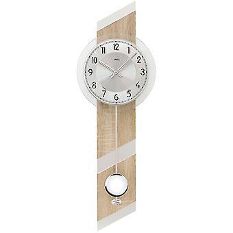 Wand Uhr Wanduhr Quarz mit Pendel Holzgehäuse Mineralglas
