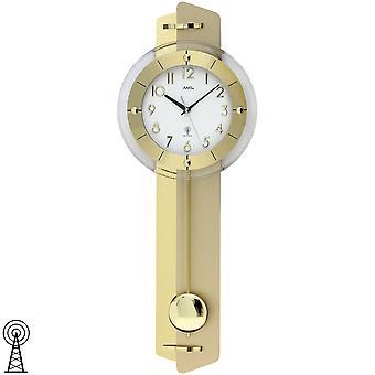 Slinger de klok van de muur van de klok van de muur met messing slinger RadioToepassing op houten achterwand