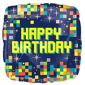 Anagram 18in Happy Birthday Pixels Foil Balloon