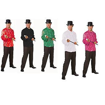 Cămașă cu volane din satin shirt dans soi dansatori spectacol costum pentru bărbați