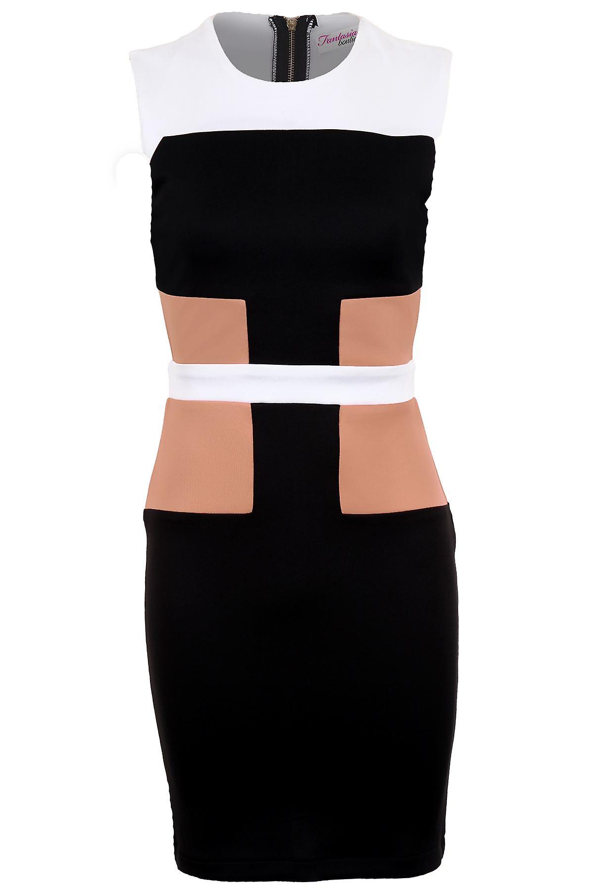 Ladies Sleeveless Panel Contrast Zip Back Fitted Women's Bodycon Party Dress