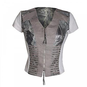 Dimare Women's Capped Sleeve Zip Jacket