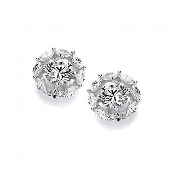 Cavendish French Round Silver & Cubic Zirconia Halo Earrings