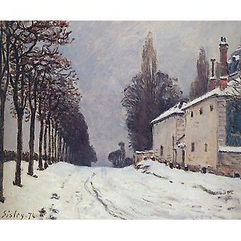 الثلوج على الطريق، Louveciennes،ألفريد سيسلي، 38x56cm