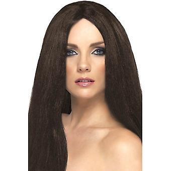 Akcesoria Fancy Dress Superstar długi brązowy proste Wig, Wig styl gwiazda,