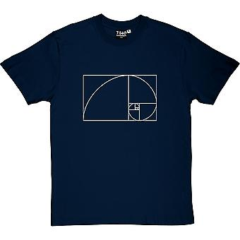 Fibonacci Spiral Navy Blue Hommes-apos;t-shirt Fibonacci Spiral Navy Blue Men-apos;s