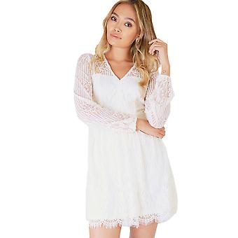 Danity Cream Long Sleeved Dress With Sheer Lace Back And Sleeves
