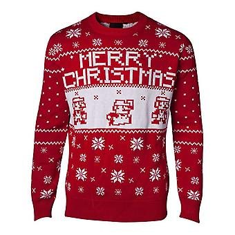 Super Mario Bros Knitted Pixel Merry Christmas Sweater Jumper - Red M Size