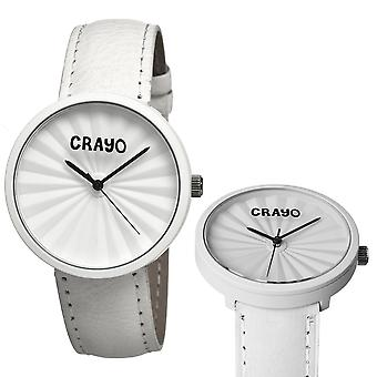 Plis Crayo skóry zespół zegarek Unisex - biała