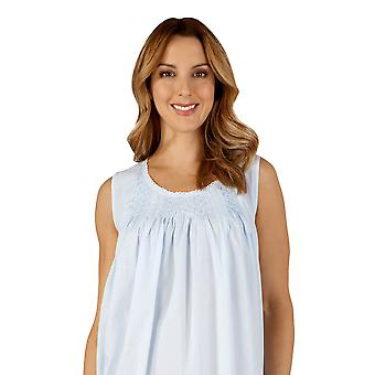 Slenderella ND3255 kvinners bomull vevd blå natt kjole Loungewear Nightdress