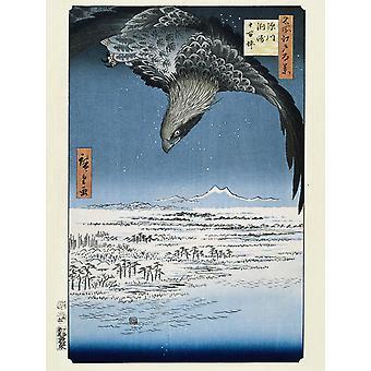 Hiroshige Kunstdruck Fukagawa Susaki and Jumantsubo Papier 250 gr. matt 80 x 60 cm