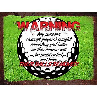Vintage Metal Wall Sign - Warning Golf