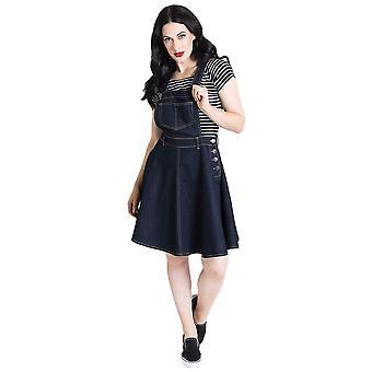 Hell Bunny Navy Dakota Pinafore Dress XS