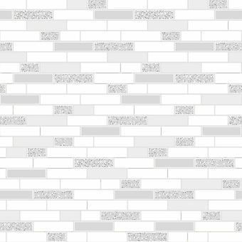 Holden White Grey Oblong Tile Kitchen Bathroom Vinyl Silver Glitter Wallpaper