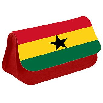 Ghana Flag Printed Design Pencil Case for Stationary/Cosmetic - 0066 (Red) by i-Tronixs
