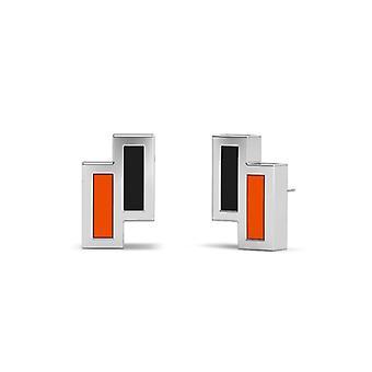 University of the Pacific Sterling Silver Asymmetriska Emalj Stud örhängen i orange och svart