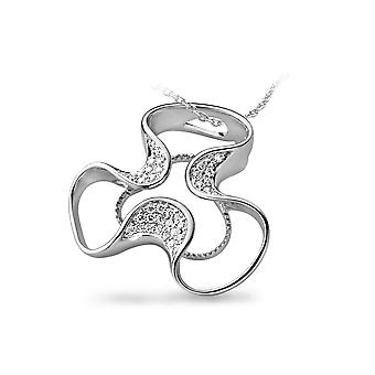 PENDANT WITH CHAIN FLOWER 925 SILVER WHITE ZIRCONIUM