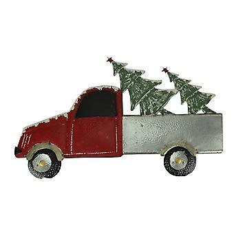 الأحمر المعادن عيد الميلاد شاحنة الناقل عطلة الجدار شنقا، والأشجار