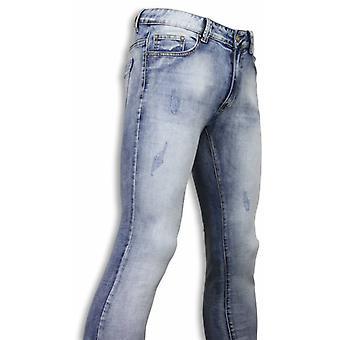 Grunnleggende jeans-lyseblå skadet slim fit-lyseblå