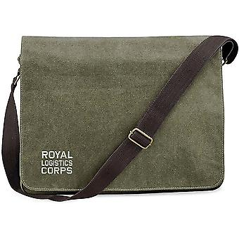 RLC Royal Logistics Corps Text - Licensed British Army Embroidered Vintage Canvas Despatch Messenger Bag