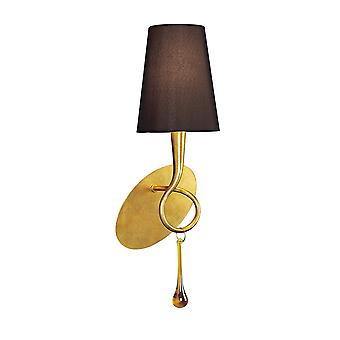 Mantra Paola Wall Lamp Switched 1 Light E14, Gold Painted With Black Shade & Amber Glass Droplets