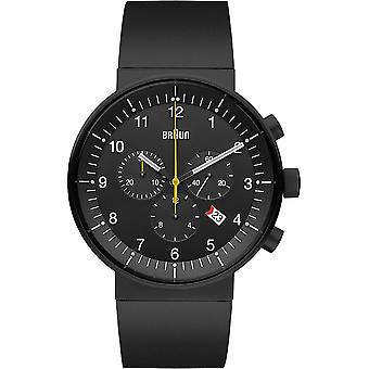 Braun prestige chronograph Swiss Quartz Analog Man Watch with Silicone Bracelet BN0095BKBKBKG