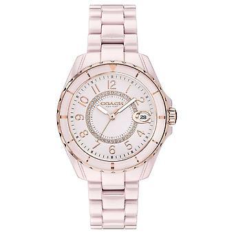 Coach | Womens | Preston | Roze keramische armband | Roze wijzerplaat | 14503463 horloge