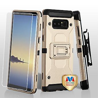 MYBAT Gold/Black 3-in-1 Kinetic Hybrid Protector Cover Combo (w/ Holster)(Twin Screen Protectors) pour Galaxy Note 8