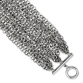 Stainless Steel Polished Toggle Closure Multiple Row Chain 7.5in Toggle Bracelet Jewelry Gifts for Women