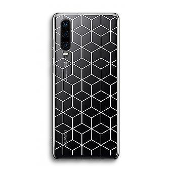 Funda transparente Huawei P30 - Cubos en blanco y negro