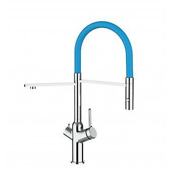 3-weg keuken filter gootsteen mixer met licht blauwe uitloop en 2 straal spray, werkt met alle water filtersysteem-380