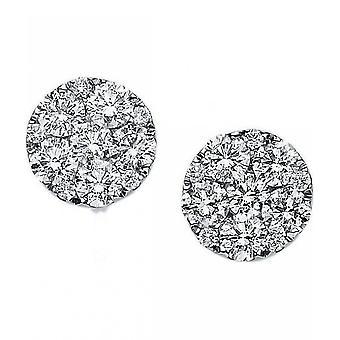 Diamond stud earrings - 18K 750 white gold - 1.29 ct.