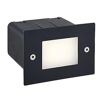 Saxby Lighting Seina Integrated LED Outdoor Recessed Wall Light Textured Noir, Frosted IP44 78645
