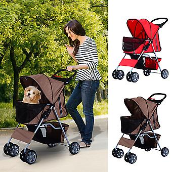 PawHut Pet Stroller for Small Dogs Cats Foldable Travel Carriage with Wheels Zipper Entry Cup Holder Storage Basket