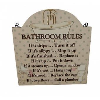 Bathroom Rules Wooden Decorative Home Plaque