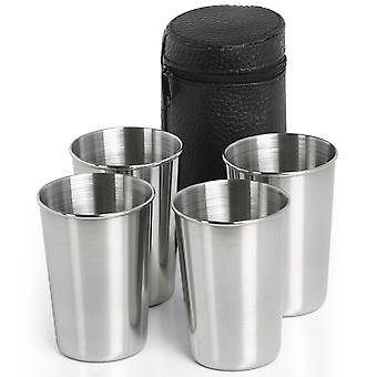 Set of 4 Travel Stainless Steel Shot Glasses with Leather Pouch- By TRIXES